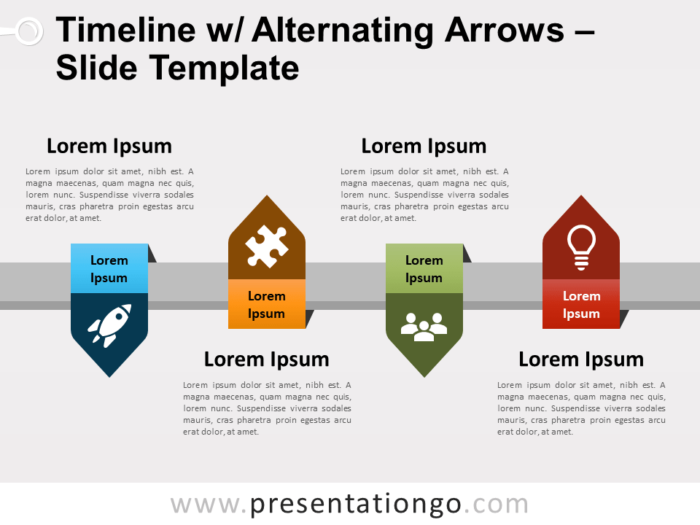 Free Timeline with Alternating Arrows for PowerPoint