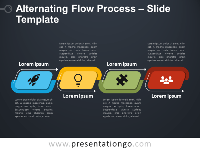 Free Free Alternating Flow Process Diagram Diagram for PowerPoint