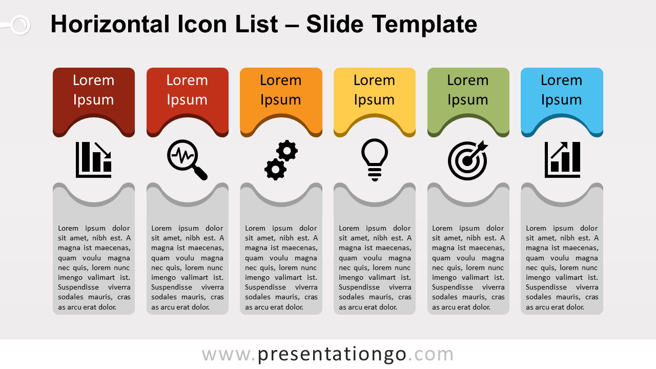 Free Horizontal Icon List for PowerPoint and Google Slides