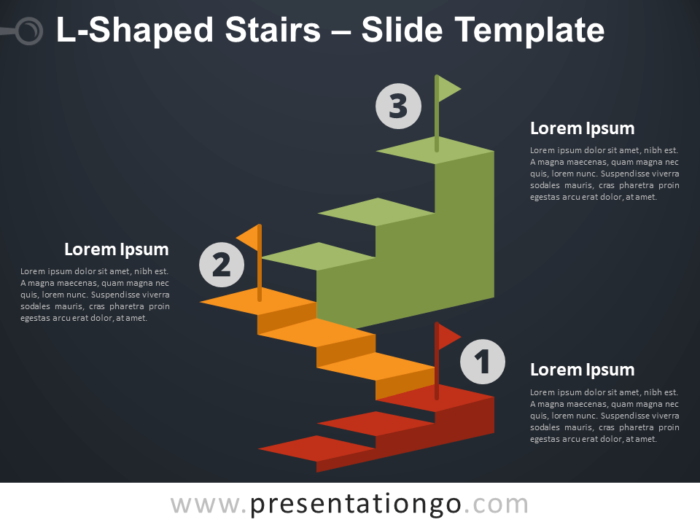 Free L-Shaped Stairs Infographics for PowerPoint