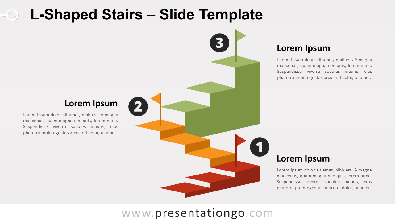 Free L-Shaped Stairs for PowerPoint and Google Slides
