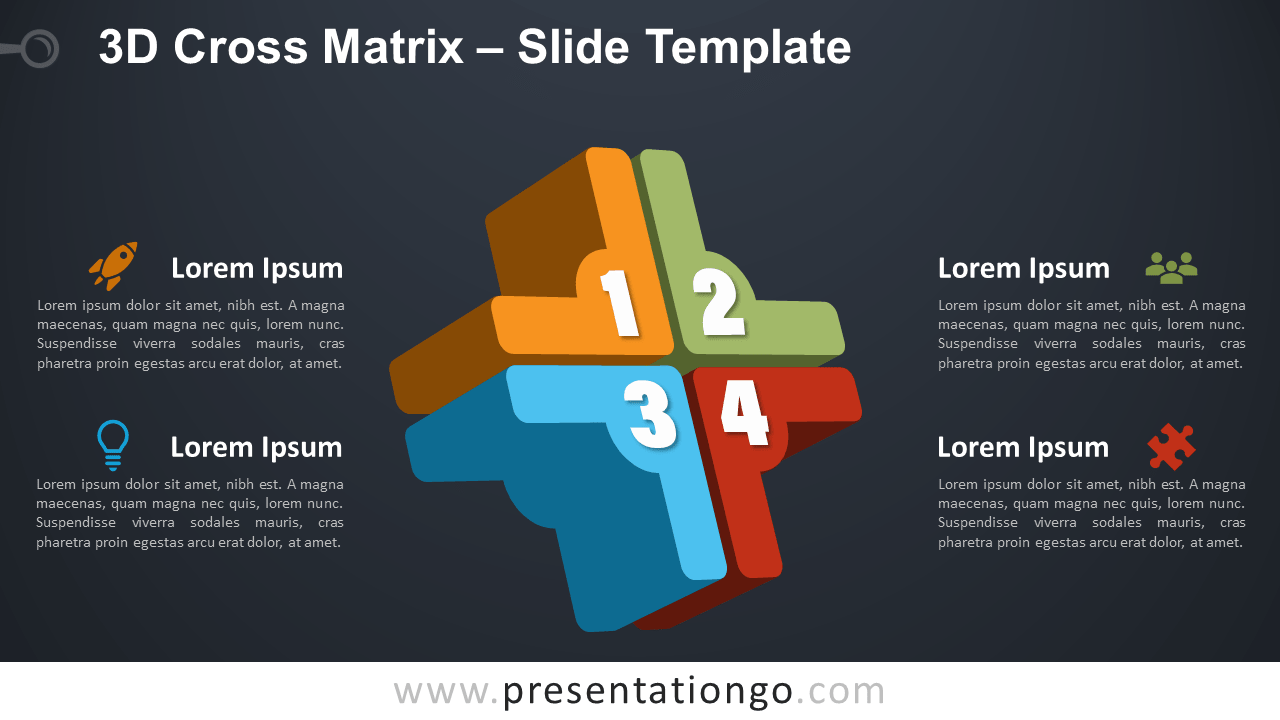 Free 3D Cross Matrix Infographic for PowerPoint and Google Slides
