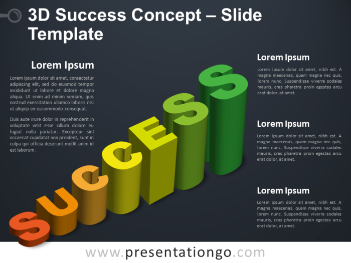 Free 3D Success Infographic for PowerPoint