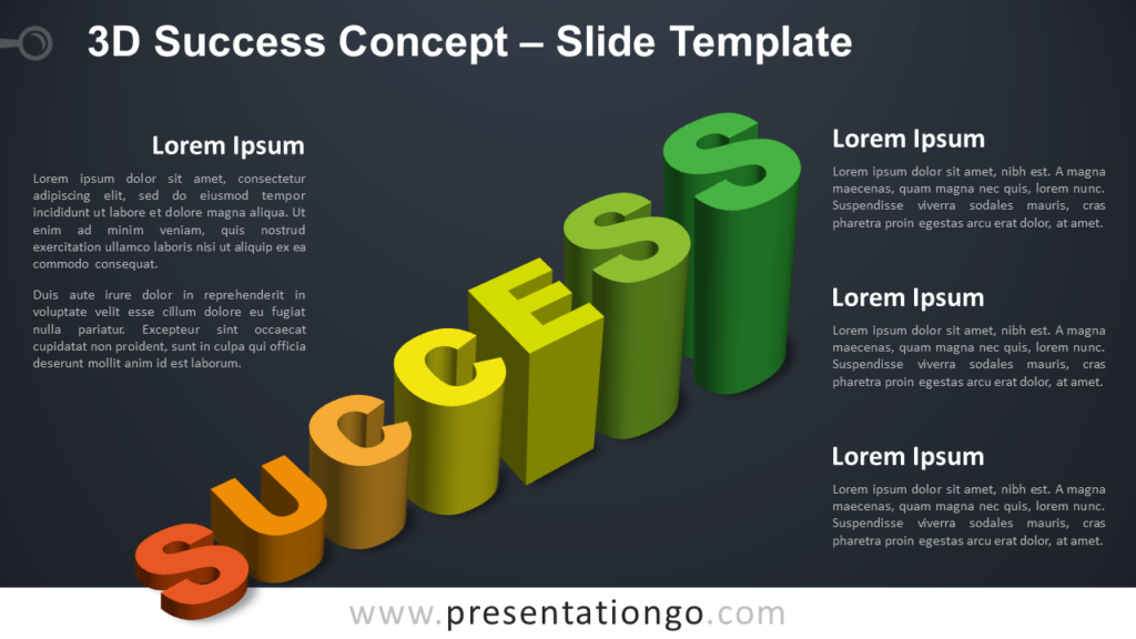 Free 3D Success Infographic for PowerPoint and Google Slides