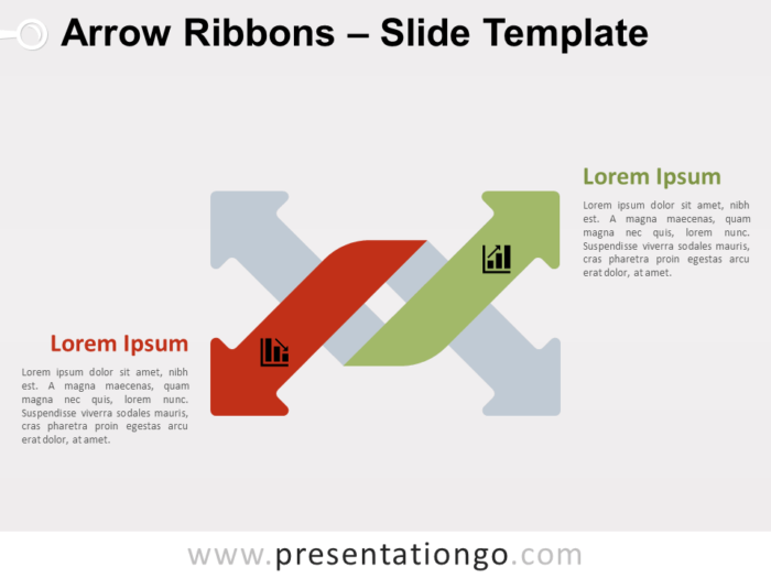 Free Arrow Ribbons Up Down for Powerpoint