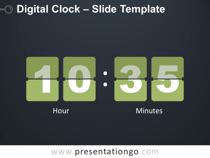Free Digital Clock Infographic for PowerPoint