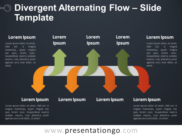 Free Divergent Alternating Flow Infographic for PowerPoint