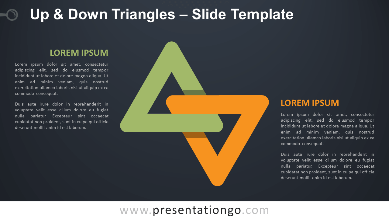 Free Up and Down Triangles Infographic for PowerPoint and Google Slides