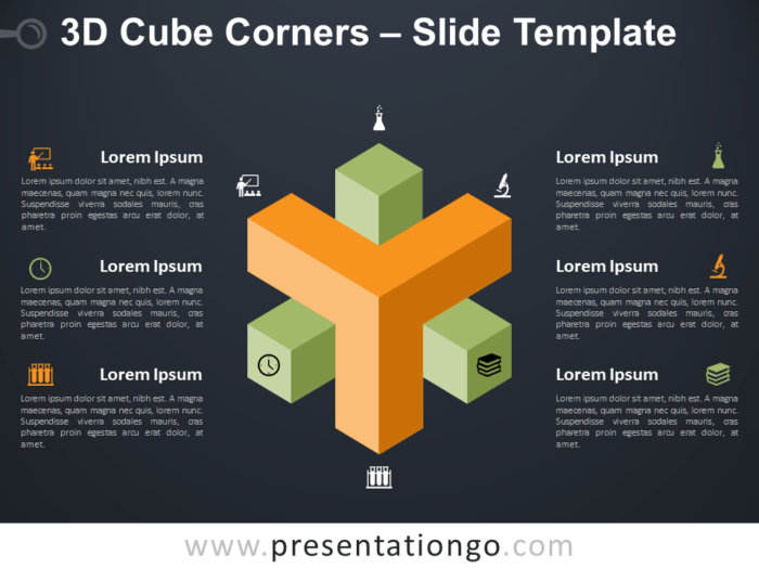 Free 3D Cube Corners Infographic for PowerPoint