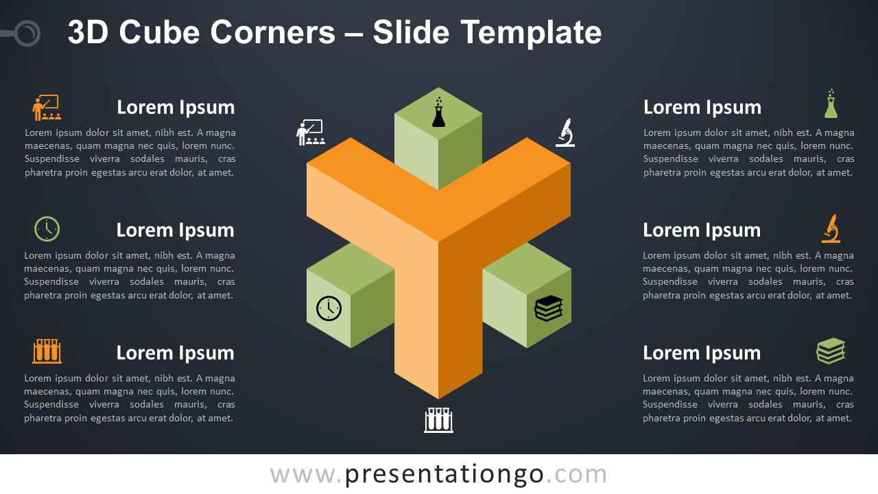 Free 3D Cube Corners Infographic for PowerPoint and Google Slides