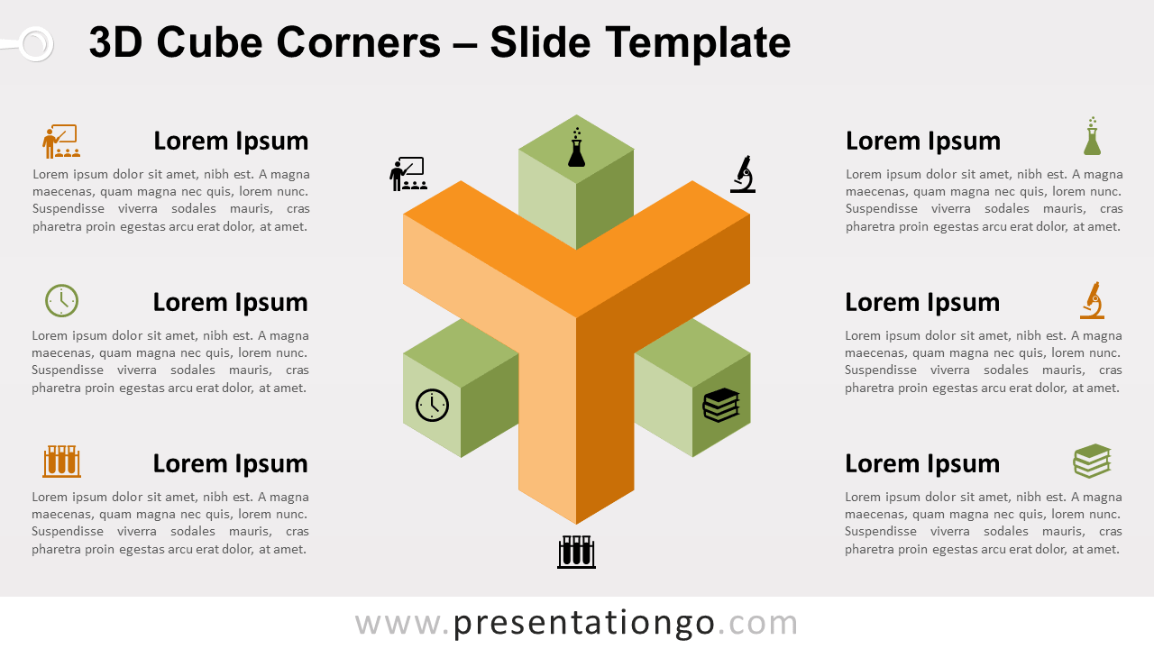 Free 3D Cube Corners for PowerPoint and Google Slides