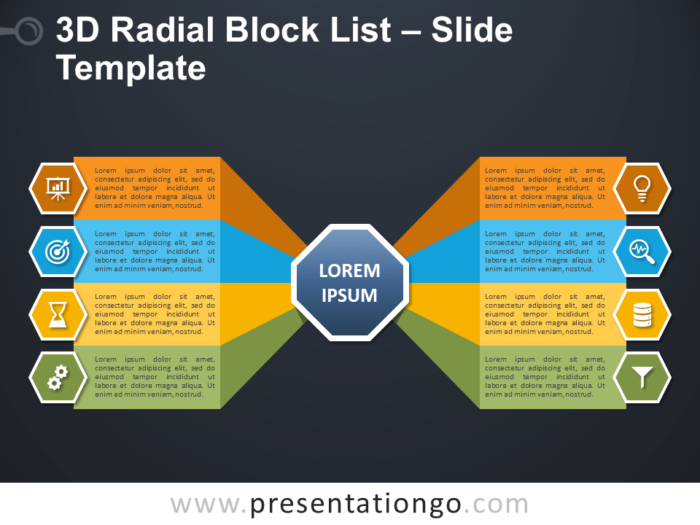 Free 3D Radial Block List Infographic for PowerPoint
