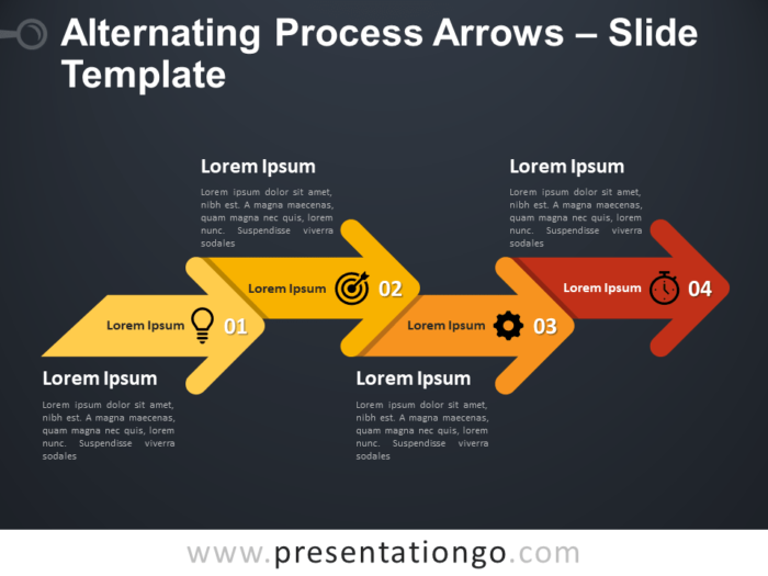Free Alternating Process Arrows Infographic for PowerPoint