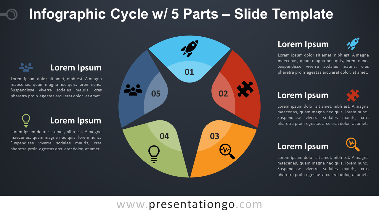 Free Cycle 5 Parts Infographic for PowerPoint and Google Slides