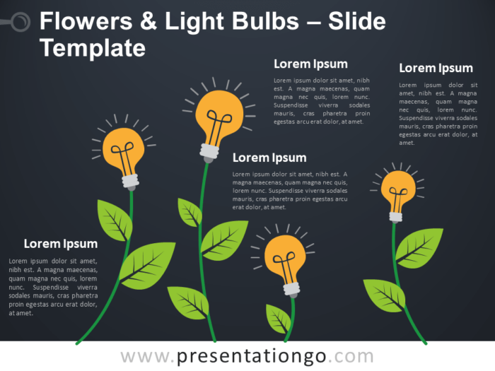 Free Flowers Light Bulbs Infographic for PowerPoint