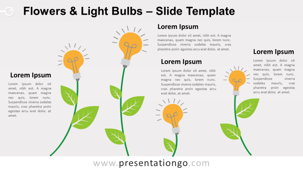 Free Flowers Light Bulbs for PowerPoint and Google Slides