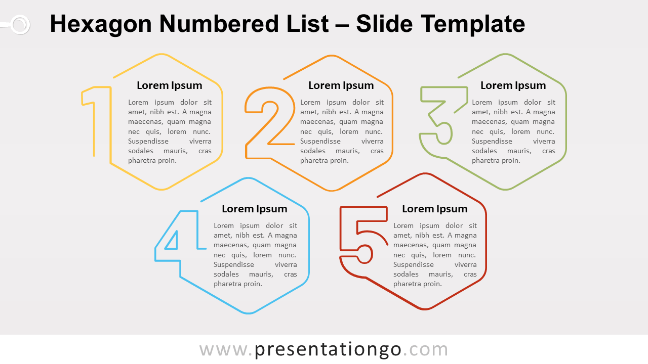 Free Hexagon Numbered List for PowerPoint and Google Slides