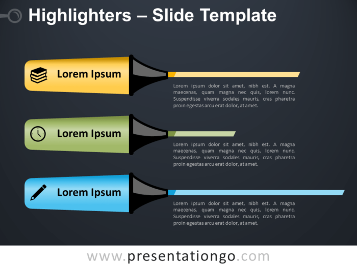 Free Highlighters Infographic for PowerPoint