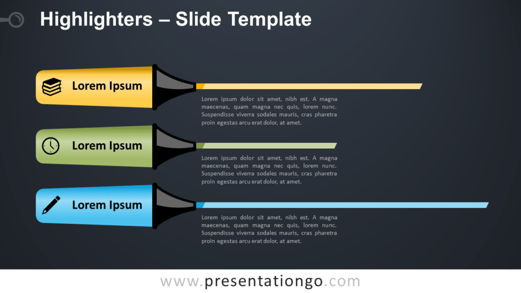 Free Highlighters Infographic for PowerPoint and Google Slides