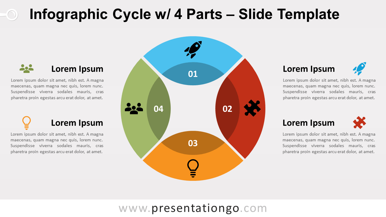 Free Infographic Cycle 4 Parts for PowerPoint and GoogleSlides