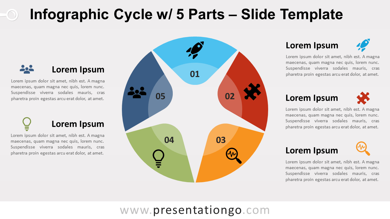 Free Infographic Cycle 5 Parts for PowerPoint and Google Slides