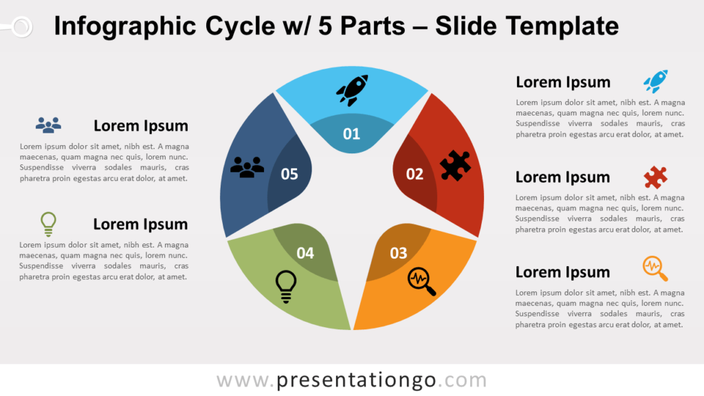 Free Infographic Cycle 5 Parts for PowerPoint and GoogleSlides