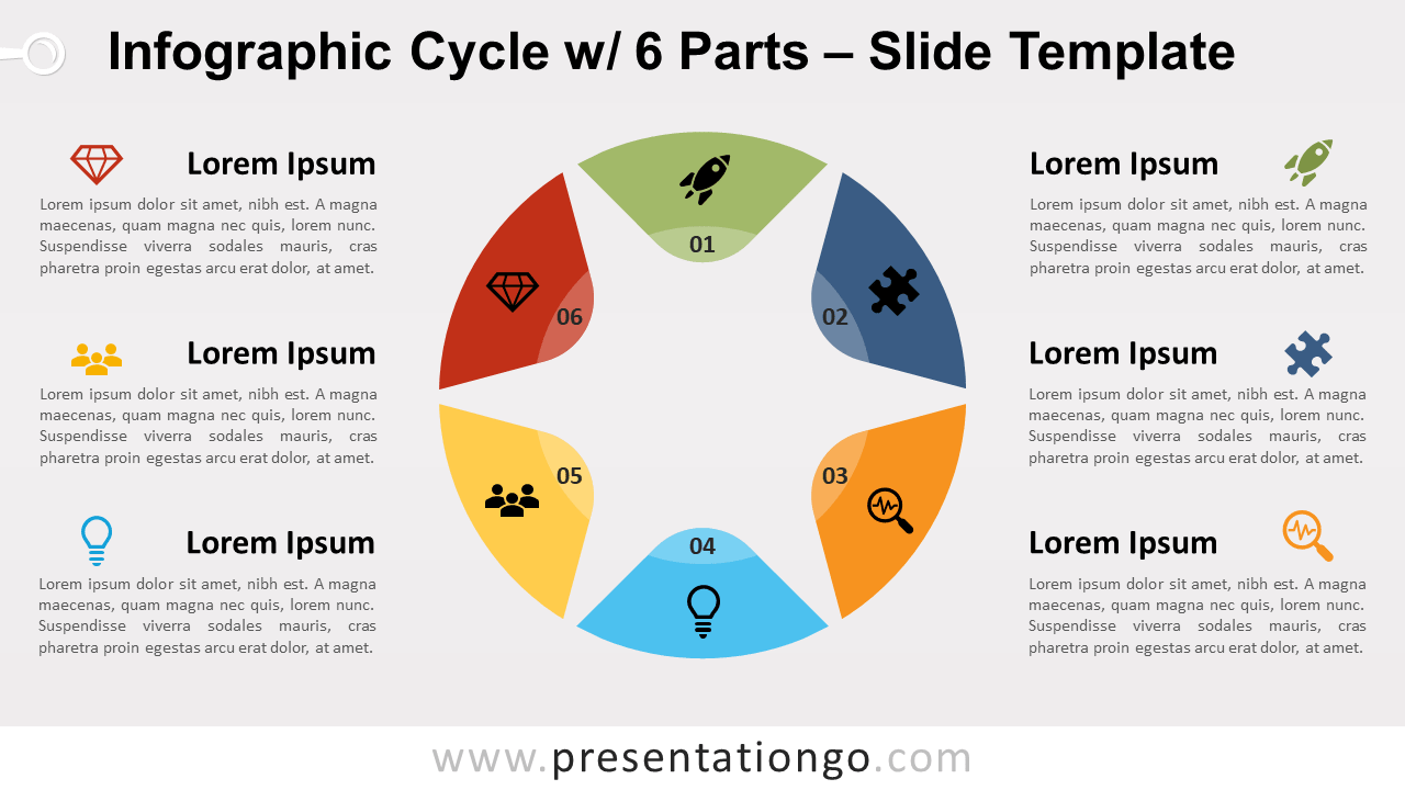 Free Infographic Cycle 6 Parts for PowerPoint and Google Slides