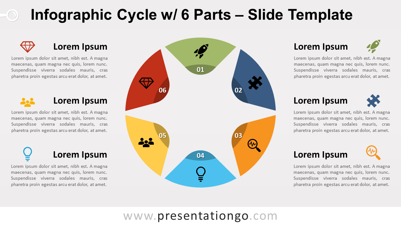 Free Infographic Cycle 6 Parts for PowerPoint and GoogleSlides