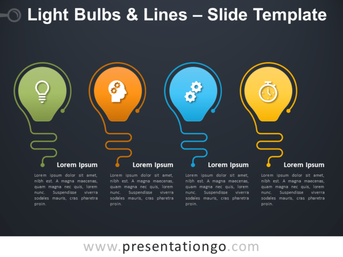 Free Light Bulbs Lines Infographic for PowerPoint