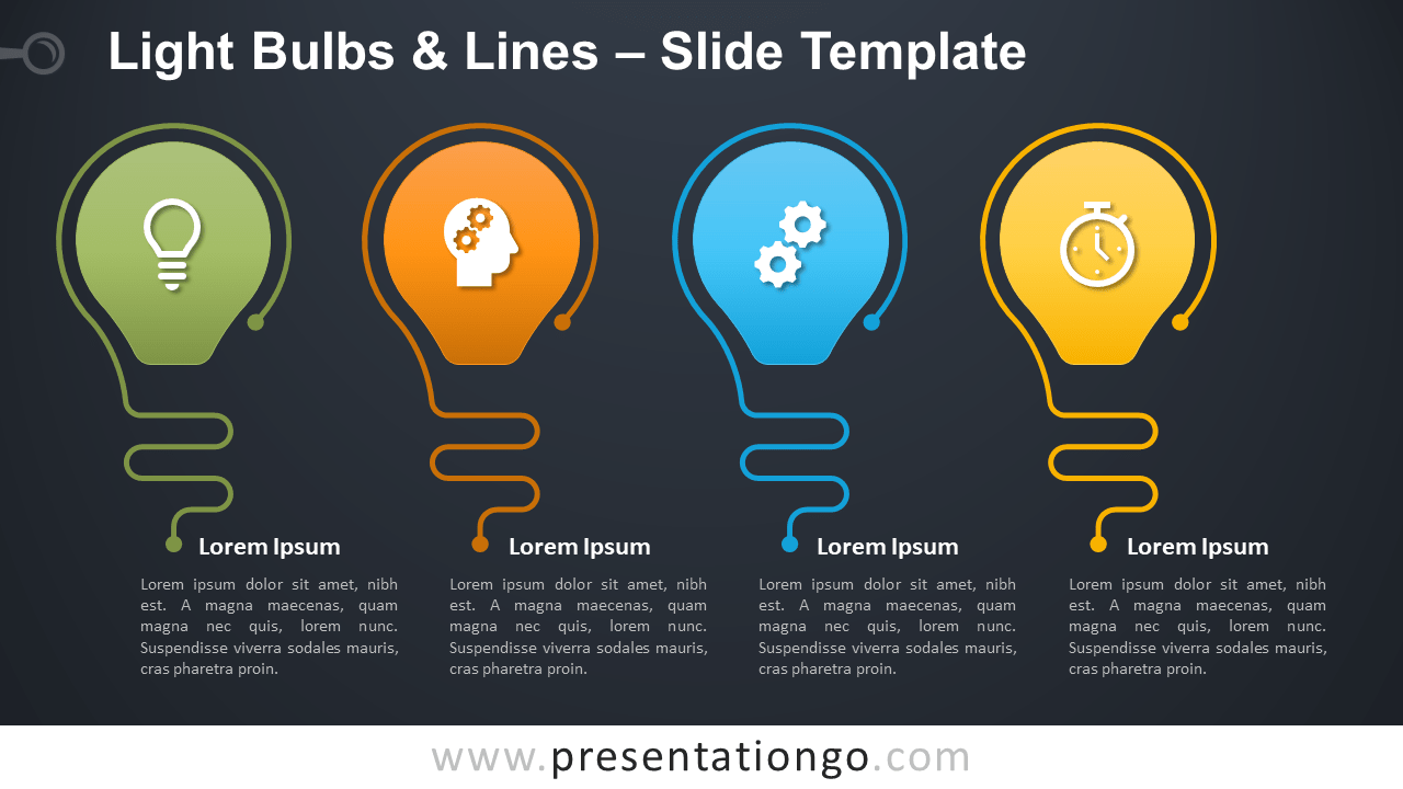 Free Light Bulbs Lines Infographic for PowerPoint and Google Slides
