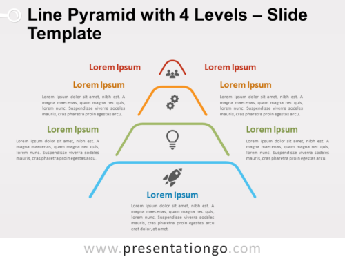 Free Line Pyramid 4 Levels for PowerPoint