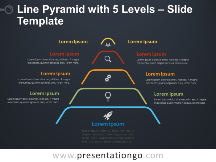 Free Line Pyramid 5 Levels Infographic for PowerPoint