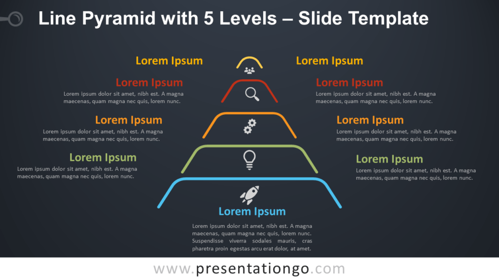 Free Line Pyramid 5 Levels Infographic for PowerPoint and Google Slides
