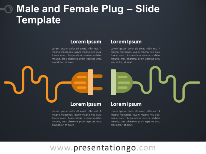 Free Male Female Plug Infographic for PowerPoint