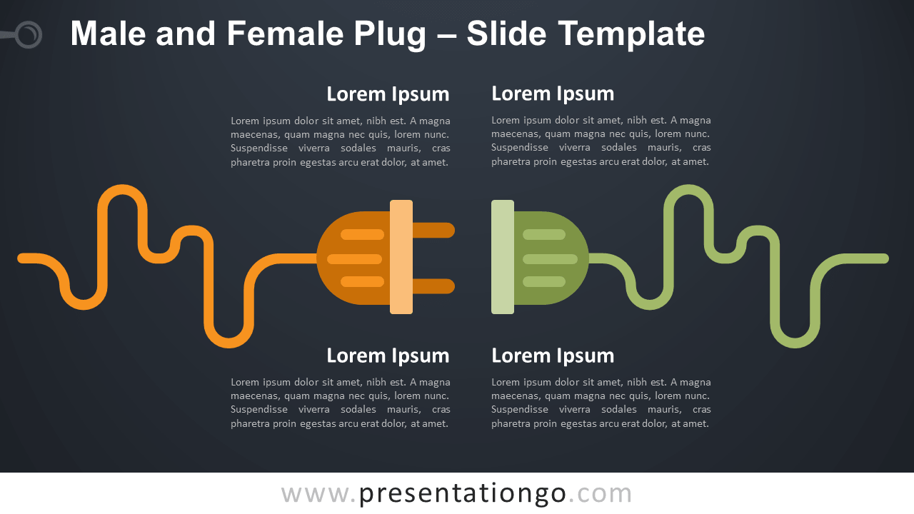 Free Male Female Plug Infographic for PowerPoint and Google Slides