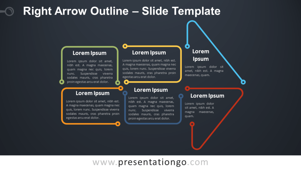 Free Right Arrow Outline Infographic for PowerPoint and Google Slides