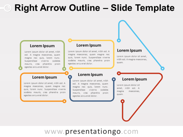 Free Right Arrow Outline for PowerPoint