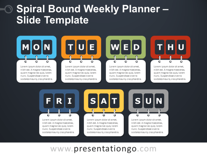 Free Spiral Bound Weekly Planning Infographic for PowerPoint