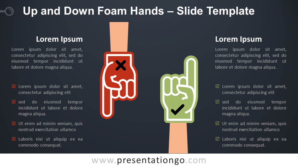Free Up and Down Foam Hands Infographic for PowerPoint and Google Slides
