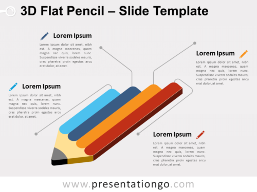 Free 3D Flat Pencil for PowerPoint