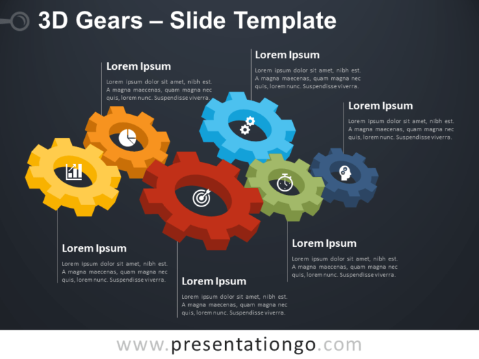 Free 3D Gears Diagram for PowerPoint