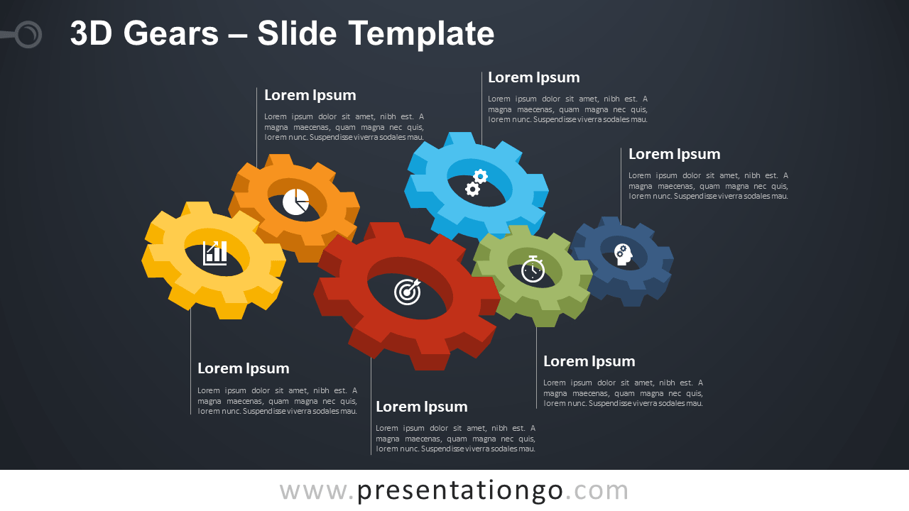 Free 3D Gears Diagram for PowerPoint and Google Slides