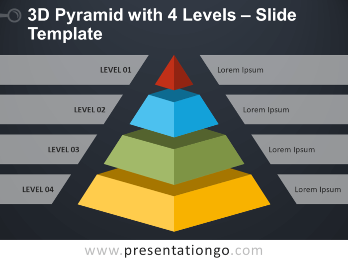 Free 3D Pyramid with 4 Levels Infographic for PowerPoint