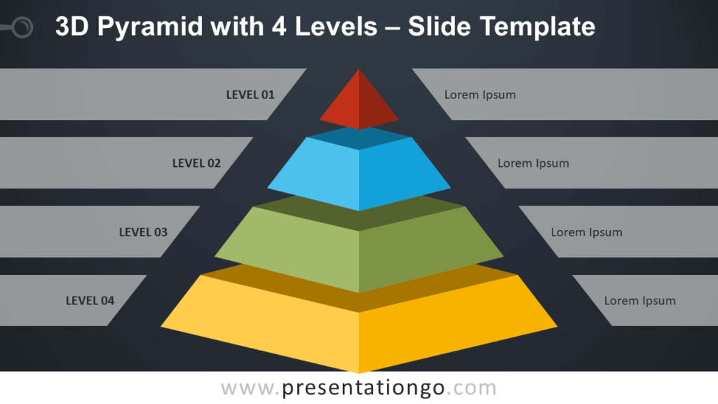 Free 3D Pyramid with 4 Levels Infographic for PowerPoint and Google Slides