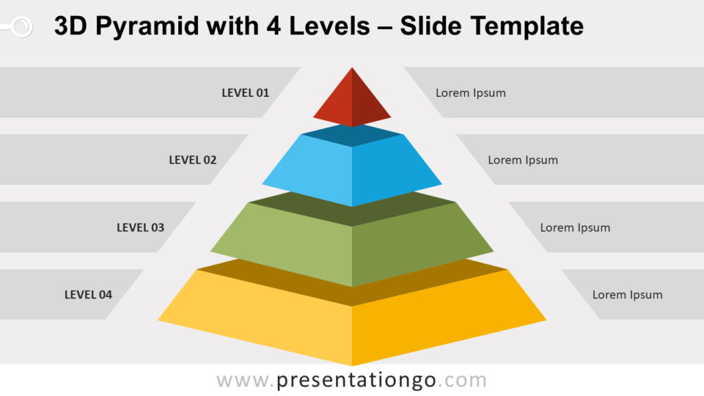 Free 3D Pyramid with 4 Levels for PowerPoint and Google Slides