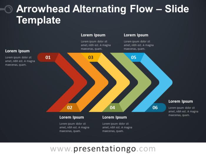 Free Arrowhead Alternating Flow Diagram for PowerPoint