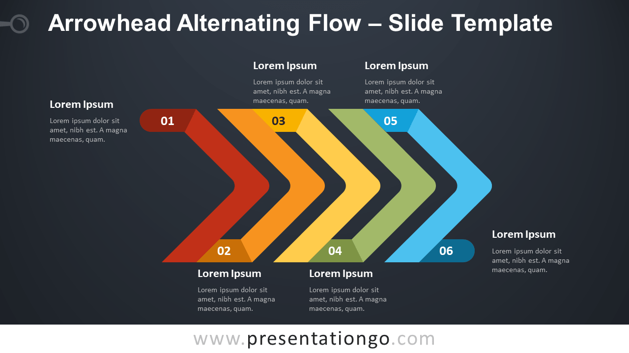 Free Arrowhead Alternating Flow Diagram for PowerPoint and Google Slides