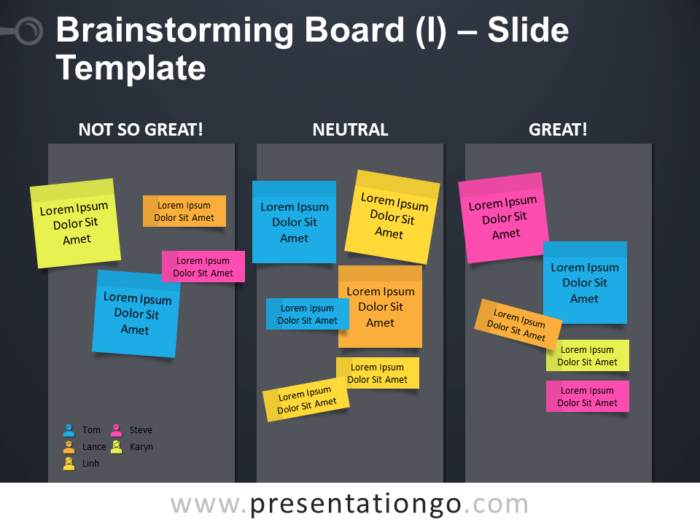 Free Brainstorming Board Table for PowerPoint Slide