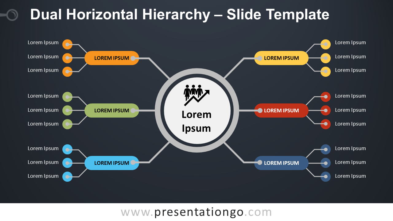 Free Dual Horizontal Hierarchy Template for PowerPoint and Google Slides