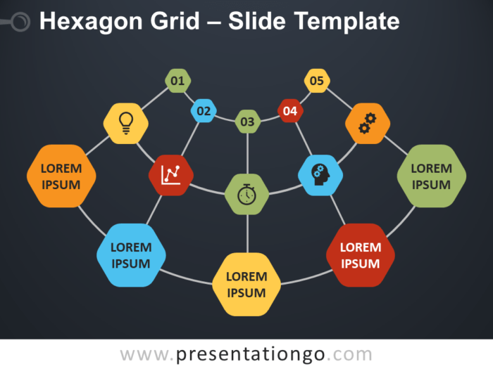Free Grid with Hexagons Diagram for PowerPoint